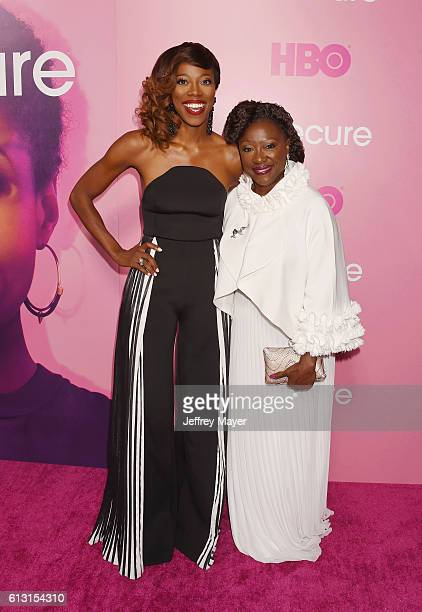 Actress Yvonne Orji and her mother Celine Orji attend the premiere of 'Insecure' at Nate Holden Performing Arts Center on October 6 2016 in Los...