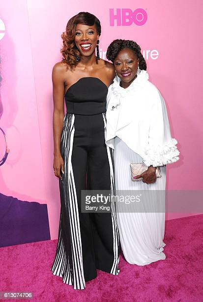 Actress Yvonne Orji and mom Celine attend the premiere of HBO's 'Insecure' at Nate Holden Performing Arts Center on October 6 2016 in Los Angeles...