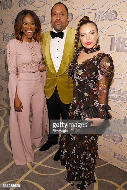 Actress Yvonne Orji producer Kenya Barris and Dr Rainbow EdwardsBarris attend HBO's Official Golden Globe Awards After Party at Circa 55 Restaurant...