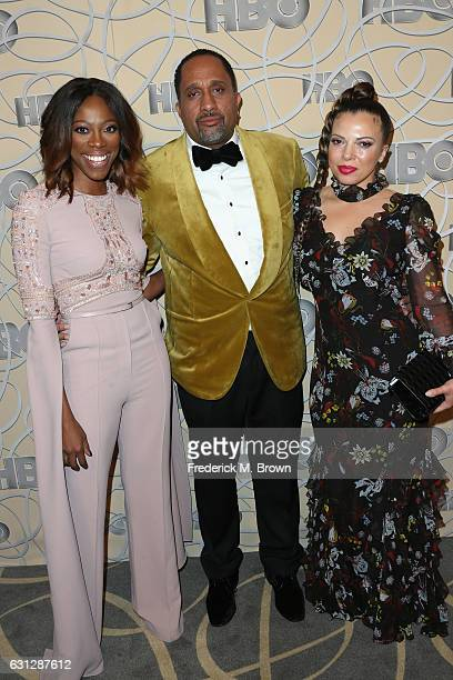 Actress Yvonne Orji producer Kenya Barris and Dr Rainbow EdwardsBarris attends HBO's Official Golden Globe Awards After Party at Circa 55 Restaurant...