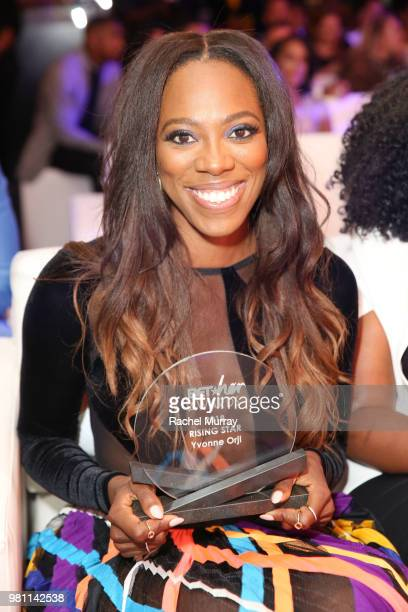 Actress Yvonne Orji recieves the Rising Star award during the BET Her Awards Presented By Bumble at Conga Room on June 21 2018 in Los Angeles...