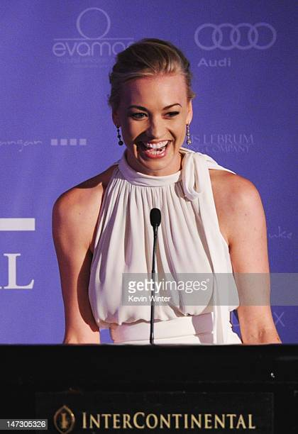 Actress Yvonne Strahovski accepts the Breakthrough Award onstage at Australians In Film Awards Benefit Dinner at InterContinental Hotel on June 27...
