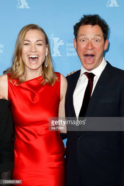 Actress Yvonne Strahovski and actor Dominic West pose at the Stateless premiere during the 70th Berlinale International Film Festival Berlin at Zoo...