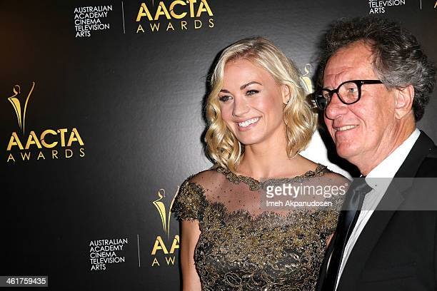 Actress Yvonne Strahovski and actor Geoffrey Rush attend the 3rd Annual Australian Academy International Awards at Sunset Marquis Hotel Villas on...