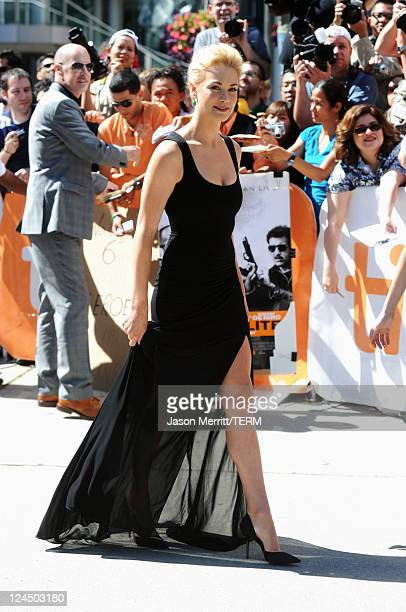 Actress Yvonne Strahovski arrives at 'Killer Elite' Premiere at Roy Thomson Hall during the 2011 Toronto International Film Festival on September 10...