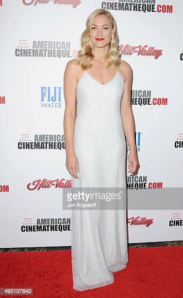 Actress Yvonne Strahovski arrives at the 29th American Cinematheque Award Honoring Reese Witherspoon at the Hyatt Regency Century Plaza on October 30...