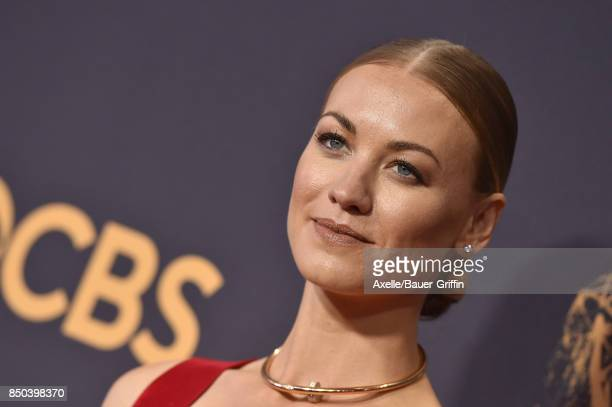 Actress Yvonne Strahovski arrives at the 69th Annual Primetime Emmy Awards at Microsoft Theater on September 17 2017 in Los Angeles California