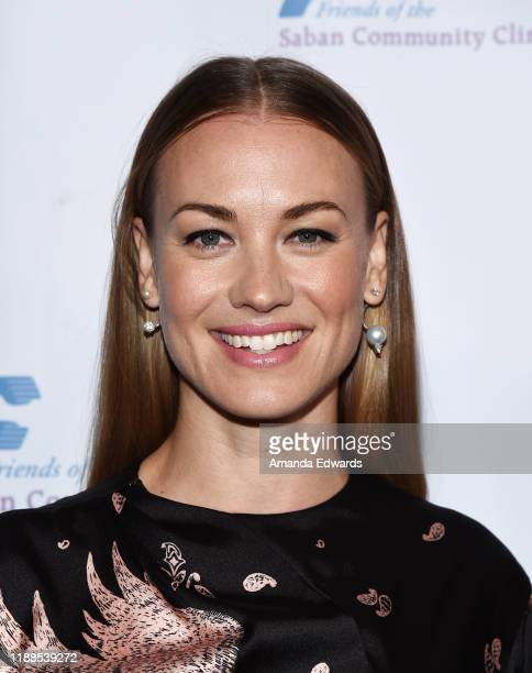 Actress Yvonne Strahovski arrives at the Saban Community Clinic's 43rd Annual Dinner Gala at The Beverly Hilton Hotel on November 18, 2019 in Beverly...