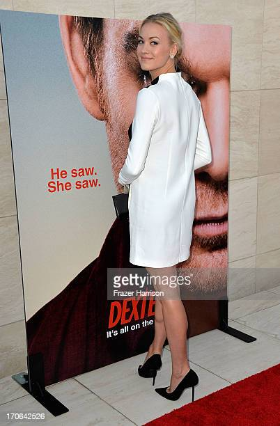 Actress Yvonne Strahovski arrives at the Showtime Celebrates 8 Seasons Of 'Dexter' at Milk Studios on June 15 2013 in Hollywood California