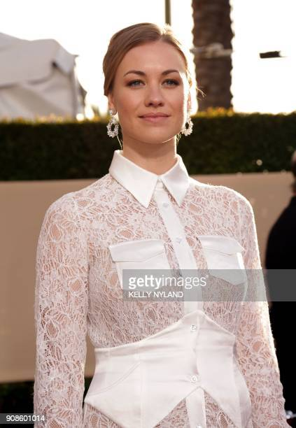 Actress Yvonne Strahovski arrives for the 24th Annual Screen Actors Guild Awards at the Shrine Exposition Center on January 21 in Los Angeles...