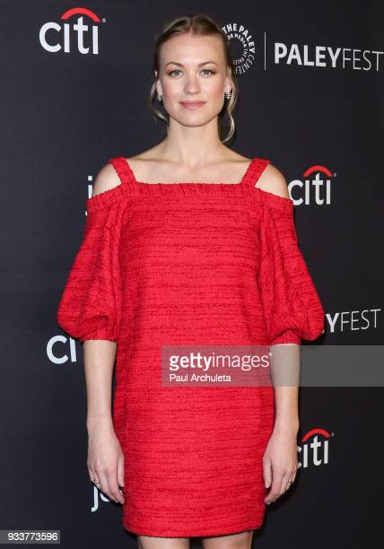 Actress Yvonne Strahovski attends the 2018 PaleyFest screening of Hulu's 'The Handmaid's Tale' at the Dolby Theatre on March 18 2018 in Hollywood...