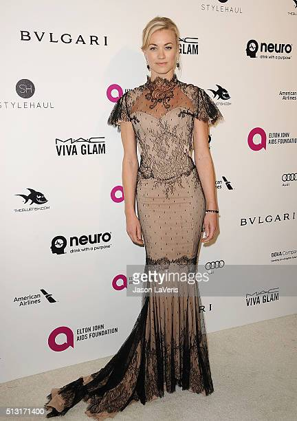 Actress Yvonne Strahovski attends the 24th annual Elton John AIDS Foundation's Oscar viewing party on February 28 2016 in West Hollywood California