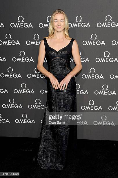 Actress Yvonne Strahovski attends the OMEGA Speedmaster Houston Event at Western Airways Airport Hangar on May 12 2015 in Sugar Land Texas
