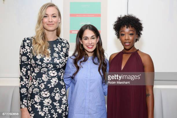 Actress Yvonne Strahovski cofounder of The Wing Audrey Gelman and actress Samira Wiley attend a VIP screening of the Original Series 'The Handmaid's...