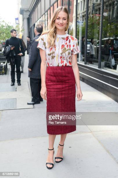 Actress Yvonne Strahovski leaves the 'AOL Build' taping at the AOL Studios on April 20 2017 in New York City