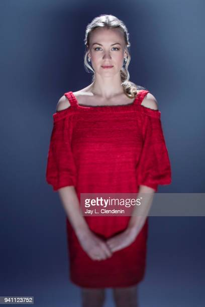 Actress Yvonne Strahovski of 'The Handmaid's Tale', is photographed for Los Angeles Times on March 17, 2018 at the PaleyFest at the Dolby Theatre in...