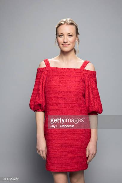 Actress Yvonne Strahovski of 'The Handmaid's Tale' is photographed for Los Angeles Times on March 17 2018 at the PaleyFest at the Dolby Theatre in...