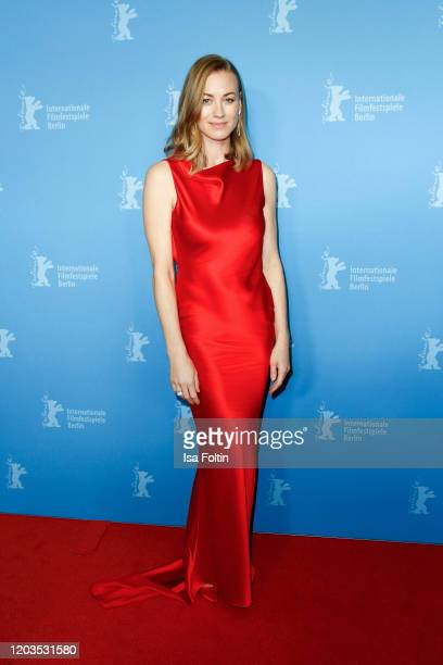 "Actress Yvonne Strahovski poses at the ""Stateless"" premiere during the 70th Berlinale International Film Festival Berlin at Zoo Palast on February..."
