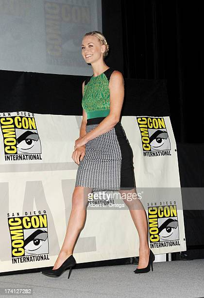 Actress Yvonne Strahovski speaks onstage at the Lionsgate preview featuring 'I Frankenstein' and 'The Hunger Games Catching Fire' during ComicCon...