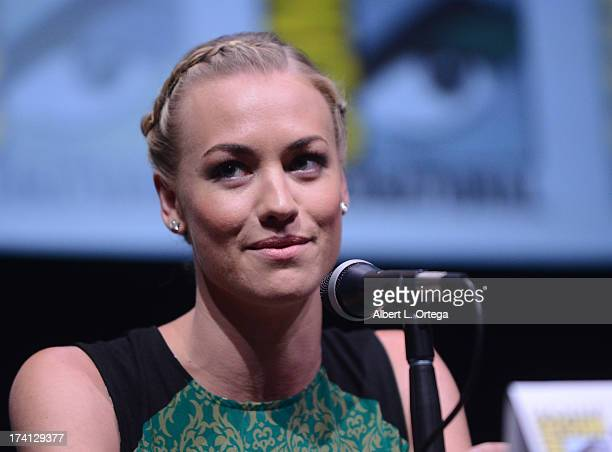 "Actress Yvonne Strahovski speaks onstage at the Lionsgate preview featuring ""I, Frankenstein"" and ""The Hunger Games: Catching Fire"" during Comic-Con..."