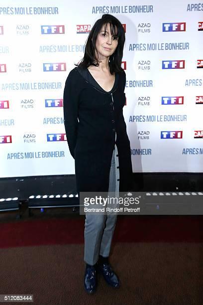 Actress Zabou Breitman dressed in Avenue Montaigne attends the 'Apres Moi Le Bonheur' Paris Photocall at Cinema Gaumont Marignan on February 24 2016...