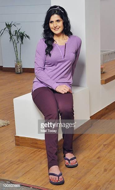 Actress Zarine Khan during an ad shoot in Mumbai on May 24 2010