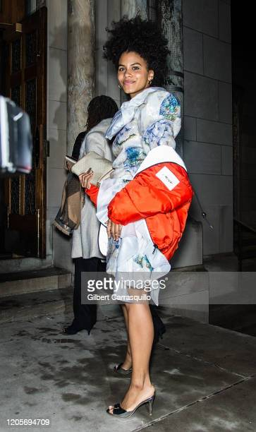 Actress Zazie Beetz is seen arriving to the Rodarte fashion show during New York Fashion Week at St Bartholomew's Church on February 11 2020 in New...