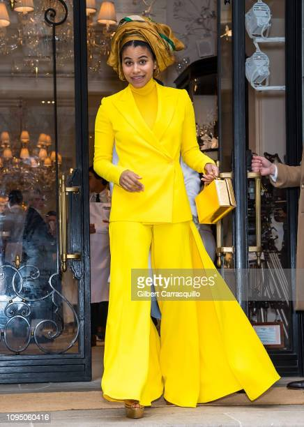 Actress Zazie Beetz is seen leaving Ralph Lauren Spring/Summer 2019 fashion show during New York Fashion Week at Ralph's Coffee at Ralph Lauren...