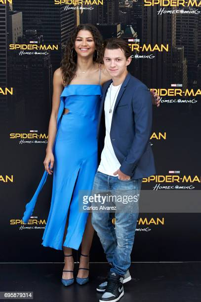 Actress Zendaya and actor Tom Holland attend 'SpiderMan Homecoming' photocall at the Villamagna Hotel on June 14 2017 in Madrid Spain