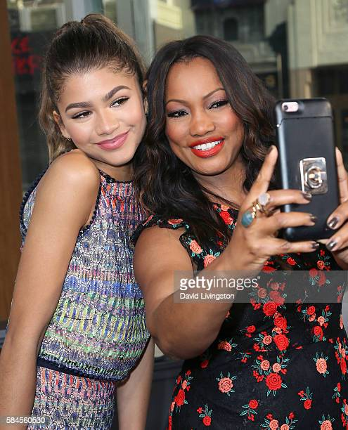 Actress Zendaya and actress/host Garcelle Beauvais pose for a selfie at Hollywood Today Live at W Hollywood on July 29 2016 in Hollywood California
