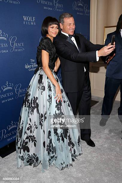 Actress Zendaya and Gala cochair Bob Iger attend the 2014 Princess Grace Awards Gala with presenting sponsor Christian Dior Couture at the Beverly...