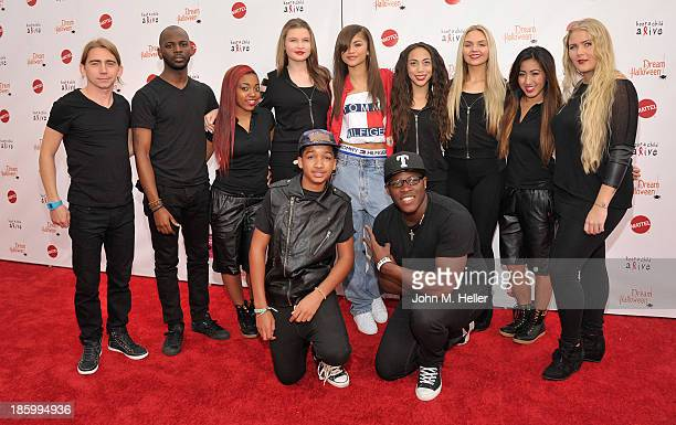 Actress Zendaya and the Z Swag Band attend the Keep A Child Alive's 20th Annual Dream Haloween at the Barker Hangar on October 26 2013 in Santa...