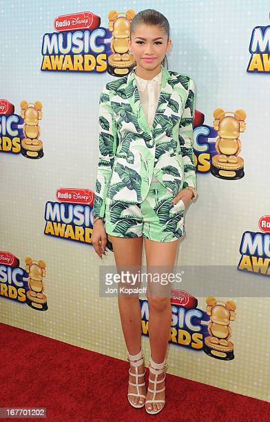 Actress Zendaya arrives at the 2013 Radio Disney Music Awards at Nokia Theatre LA Live on April 27 2013 in Los Angeles California