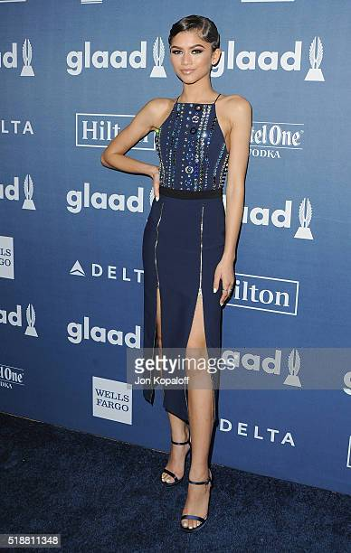 Actress Zendaya arrives at the 27th Annual GLAAD Media Awards at The Beverly Hilton Hotel on April 2 2016 in Beverly Hills California