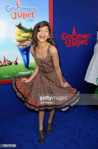 Actress Zendaya arrives at the Los Angeles premiere of 'Gnomeo and Juliet' at the El Capitan Theatre on January 23 2011 in Hollywood California