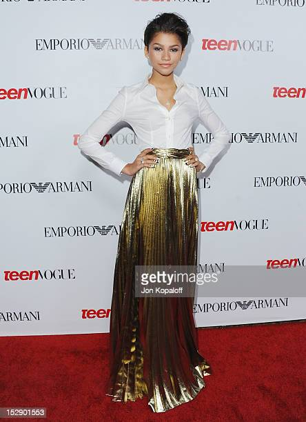 Actress Zendaya arrives at the Teen Vogue's 10th Anniversary Annual Young Hollywood Party on September 27 2012 in Beverly Hills California