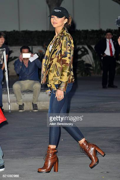 Actress Zendaya arrives to Kobe Bryant's last game at The Staples Center on April 13 2016 in Los Angeles California