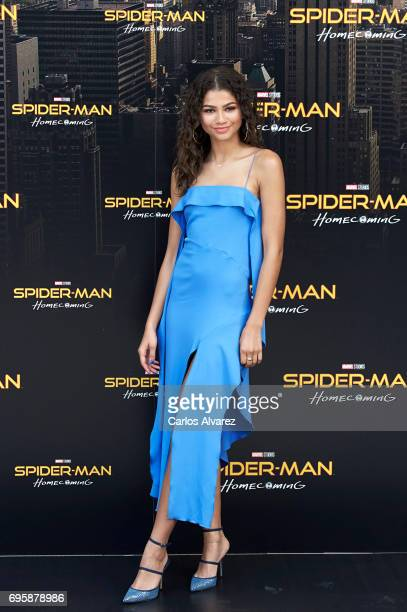 Actress Zendaya attends 'SpiderMan Homecoming' photocall at the Villamagna Hotel on June 14 2017 in Madrid Spain