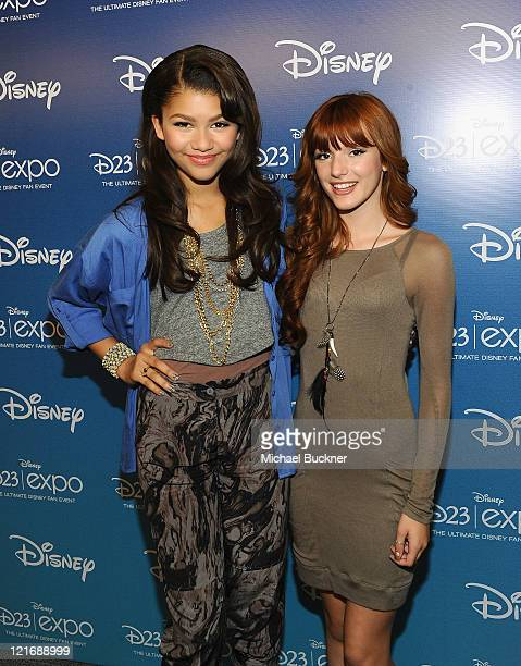 Actress Zendaya Coleman and actress Bella Thorne arrive for the 'Shake It Up' Panel during Disney's D23 Expo 2011 at the Anaheim Convention Center on...