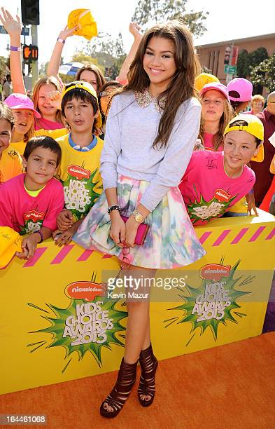 Actress Zendaya Coleman arrives at Nickelodeon's 26th Annual Kids' Choice Awards at USC Galen Center on March 23 2013 in Los Angeles California