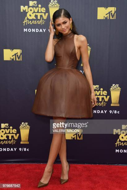 US actress Zendaya Coleman attends the 2018 MTV Movie TV awards at the Barker Hangar in Santa Monica on June 16 2018 This year's show is not live It...