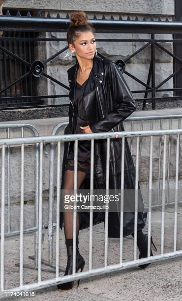 Actress Zendaya is seen arriving to Marc Jacobs Spring 2020 Fashion Show at Park Avenue Armory during New York Fashion Week on September 11, 2019 in...