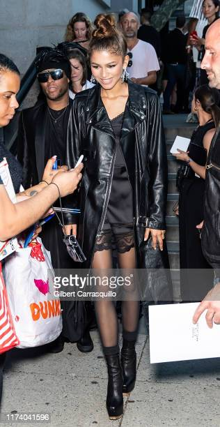Actress Zendaya is seen leaving Marc Jacobs Spring 2020 Fashion Show at Park Avenue Armory during New York Fashion Week on September 11, 2019 in New...