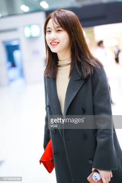 Actress Zhang Huiwen is seen at an airport on November 21 2018 in Shanghai China Actress Zhang Huiwen cancelled her plan of attending the fashion...