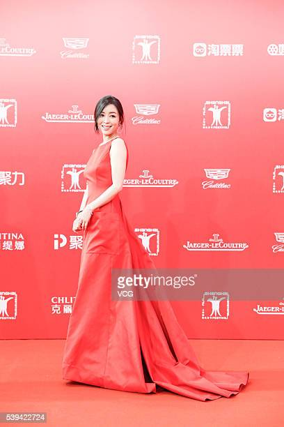 Actress Zhang Jingchu arrives for the red carpet of the 19th Shanghai International Film Festival at Shanghai Grand Theatre on June 11 2016 in...