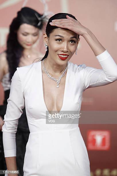 Actress Zhang Lanxin arrives at the closing ceremony of 16th Shanghai International Film Festival at Shanghai Culture Square on June 23 2013 in...