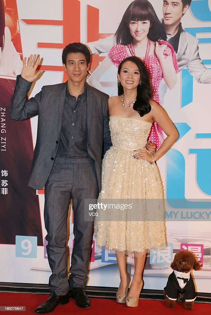 Actress Zhang Ziyi and actor Leehom Wang attend 'My Lucky Star' premiere at Saga Cinema on September 10, 2013 in Beijing, China.