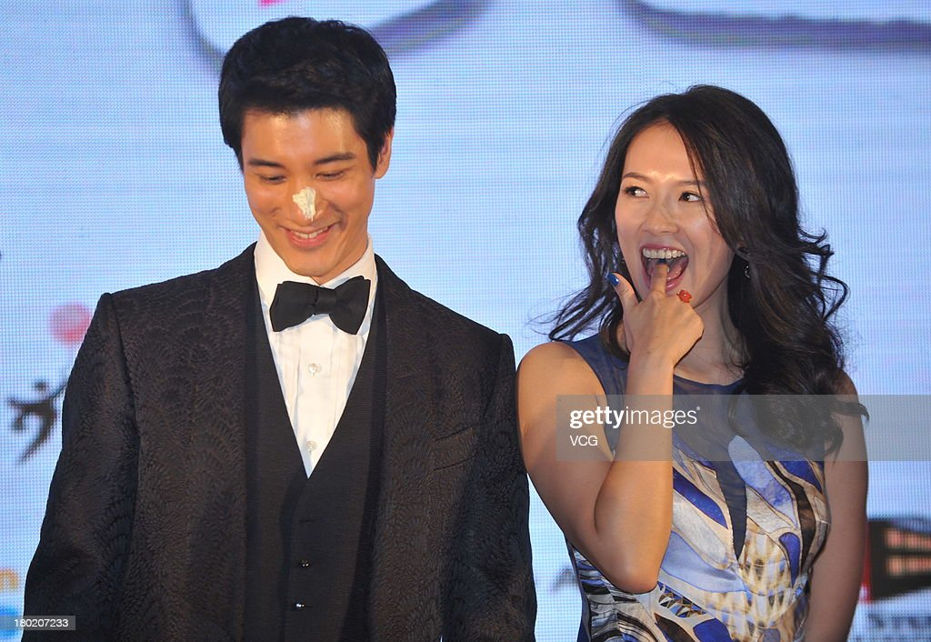 Actress Zhang Ziyi and actor Leehom Wang attend 'My Lucky Star' press conference at Conrad Hotel on September 10, 2013 in Beijing, China.