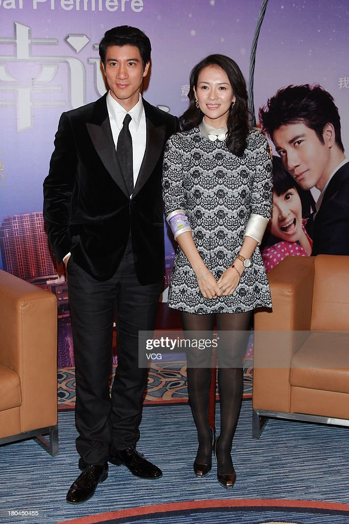Actress Zhang Ziyi and actor Leehom Wang attend 'My Lucky Star' press conference at the Venetian Macao on September 12, 2013 in Macau, Macau.