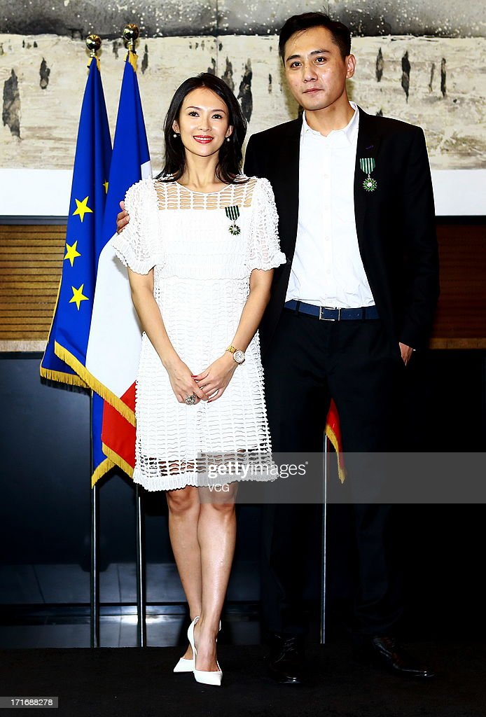 Actress Zhang Ziyi and actor Liu Ye attend the 'Chevalier De L'Ordre Des Arts Et Des Lettres' Awards at Embassy of France on June 27, 2013 in Beijing, China.